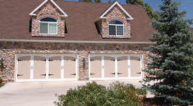 A new look after our garage door repair service finished this Algonquin home.